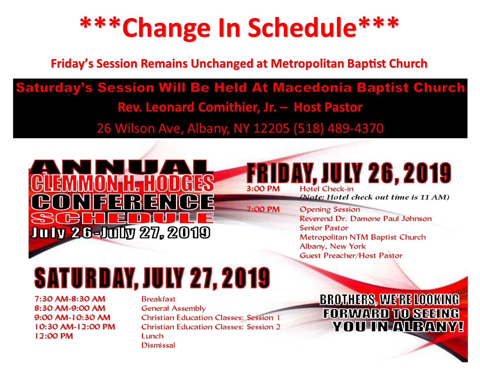 Layman Clemon Hodge Conference Change In Schedule