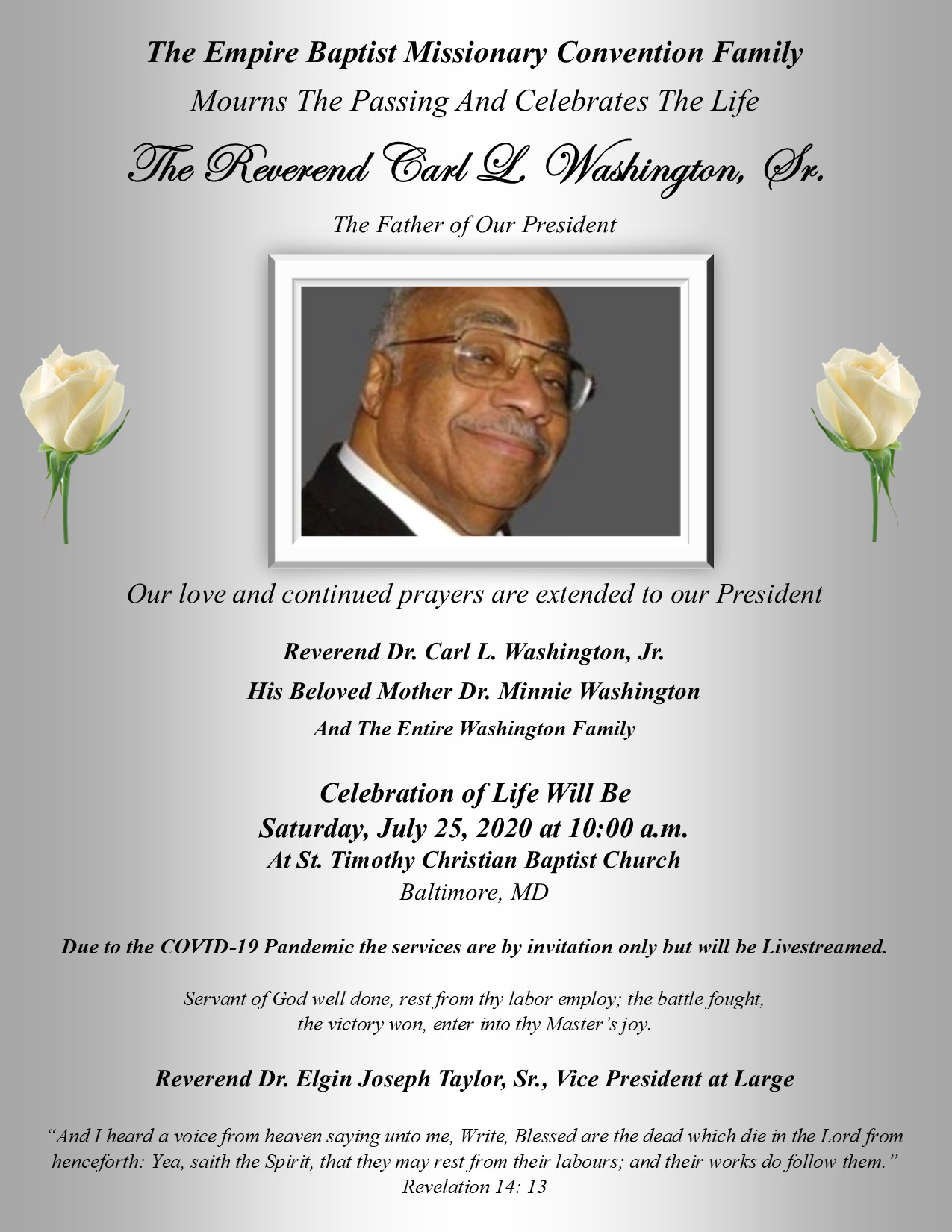Bereavement Announcement - Rev Carl Washington, Sr - Update